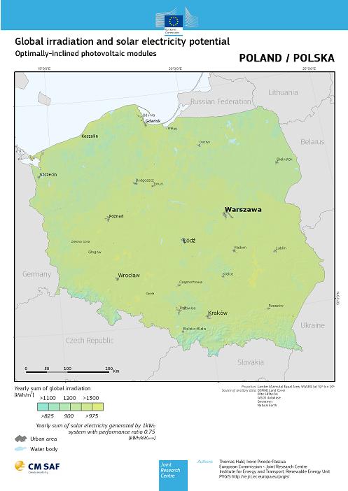 Roczne nasłonecznienie w Polsce Źródło: http://re.jrc.ec.europa.eu/pvgis/